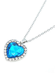 cheap -Women's Blue Crystal Pendant Necklace Platinum Plated Chrome Silver 45-55 cm Necklace Jewelry 1pc For Wedding Gift Daily Work Festival