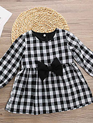 cheap -Baby Girls' Active / Basic Black & White Check Long Sleeve Dress White