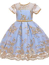 cheap -Kids Little Girls' Dress Graphic Layered Mesh Bow Blushing Pink Gold Light Blue Knee-length Short Sleeve Cute Dresses Regular Fit