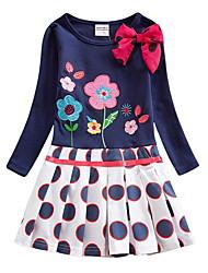 Недорогие -Дети Девочки Цветочный принт Платье Тёмно-синий