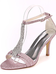 cheap -Women's Wedding Shoes Stiletto Heel Open Toe Rhinestone Synthetics Sweet Fall / Spring & Summer White / Champagne / Light Purple / Party & Evening