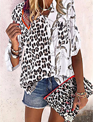 cheap -Women's Blouse Shirt Color Block Leopard Cheetah Print Long Sleeve V Neck Tops Basic Top White Black Army Green
