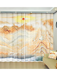 cheap -Landscape Waterfall Environmental Protection Digital Printing 3D Curtain Shade Curtain High Precision Black Silk Fabric High Quality First-class Shade Bedroom Living Room Curtain