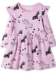 cheap -Kids Girls' Cute Animal Asymmetrical Dress Blushing Pink