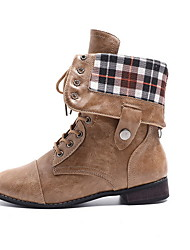 cheap -Women's Boots Low Heel Round Toe PU Booties / Ankle Boots Fall & Winter Black / Dark Brown / Coffee