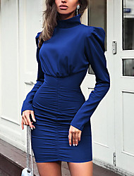 cheap -Women's Mini Bodycon Dress - Long Sleeve Solid Colored Pleated Turtleneck Street chic Punk & Gothic Daily Wear Going out Slim Black Blue Blushing Pink Green Light Green S M L XL XXL