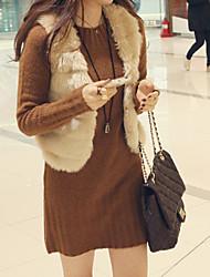 cheap -Women's Daily Street chic Fall & Winter Short Vest, Striped V Neck Sleeveless Faux Fur Black / Beige