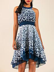 cheap -Women's Plus Size Going out A Line Chiffon Dress - Geometric Ruffle Print Summer Black Wine Purple S M L XL