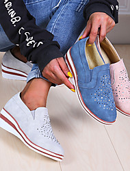 cheap -Women's Heels Wedge Heel Round Toe Sparkling Glitter PU Booties / Ankle Boots Vintage / Casual Spring &  Fall / Spring & Summer White / Blue / Pink
