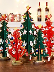 cheap -2PCS Christmas Tree Decorations Double Wooden Christmas Tree Ornaments Crafts New Year Decorations