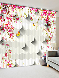 cheap -Three Dimensional Red Plum Digital Printing 3D Curtain Shading Curtain High Precision Black Silk Fabric High Quality Curtain
