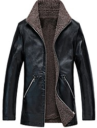 cheap -Men's Daily Fall & Winter Regular Leather Jacket, Solid Colored Stand Long Sleeve PU Black / Wine / Yellow