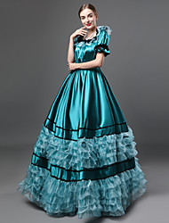 cheap -Vintage Gothic Victorian Medieval 18th Century Dress Party Costume Masquerade Women's Satin Costume Blue Vintage Cosplay Party Prom Short Sleeve Floor Length Ball Gown Plus Size Customized