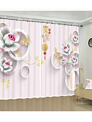 cheap -Creative Pink Stereo Flower Style Environmental Protection Digital Printing 3D Curtain Shade Curtain High Precision Black Silk Fabric High Quality First Class Shade Personal Hotel Curtain