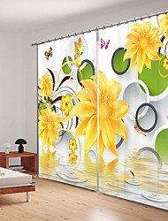cheap -Yellow Simple Flower Digital Printing 3D Curtain Shading Curtain High Precision Black Silk Fabric High Quality Curtain