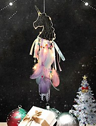 cheap -LED Unicorn Dream Catcher Colorful Feather Dream Catcher Handmade Dream Catcher for Girls Kids Nursery Bedroom Wall Hanging Decoration
