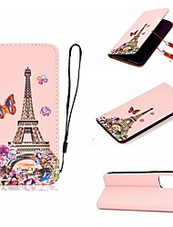 cheap -Case For Apple iPhone 11 / iPhone 11 Pro / iPhone 11 Pro Max Card Holder / with Stand / Flip Full Body Cases Eiffel Tower PU Leather