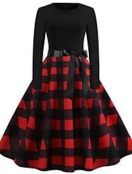 cheap -Women's A Line Dress - Plaid Black S M L XL
