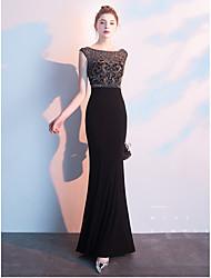 cheap -Mermaid / Trumpet Jewel Neck Floor Length Tulle Sexy / Elegant Formal Evening Dress with Beading 2020