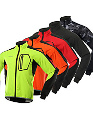 cheap -BERGRISAR Men's Cycling Jacket Winter Fleece Spandex Bike Winter Fleece Jacket Thermal Warm Waterproof Windproof Sports Solid Color Black / Red / Camouflage Mountain Bike MTB Clothing Apparel Regular