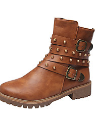 cheap -Women's Boots Comfort Shoes Chunky Heel Round Toe Rivet PU Booties / Ankle Boots Casual Walking Shoes Fall & Winter Brown / Gray