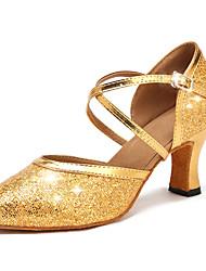 cheap -Women's Modern Shoes / Ballroom Shoes Faux Leather / Synthetics Cross Strap Heel Sequin / Glitter / Paillette Cuban Heel Customizable Dance Shoes Gold / Performance