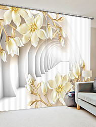 cheap -Light Yellow Magnolia Digital Printing 3D Curtain Shading Curtain High Precision Black Silk Fabric High Quality Curtain