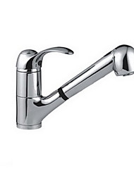 cheap -Kitchen faucet - Single Handle One Hole Electroplated Pull-out / Pull-down Free Standing Contemporary Kitchen Taps