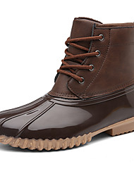 cheap -Women's Boots Rain Boots Flat Heel Round Toe Synthetics Booties / Ankle Boots Sporty / Vintage Winter / Fall & Winter Black / Coffee