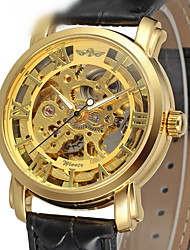 cheap -WINNER Men's Dress Watch Skeleton Watch Wrist Watch Automatic self-winding Leather Black 30 m Hollow Engraving Analog Luxury Classic Vintage - Gold / Stainless Steel