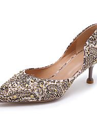 cheap -Women's Heels Kitten Heel Closed Toe Rhinestone PU Walking Shoes Spring &  Fall Black / Gray