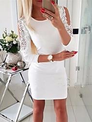 cheap -Women's Blushing Pink White Dress Basic Sheath Solid Colored S M