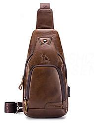 cheap -Men's Zipper Cowhide Sling Shoulder Bag Solid Color Black / Brown / Dark Brown