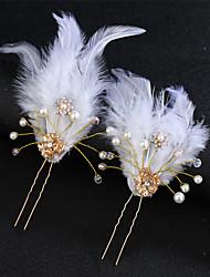 cheap -Alloy Hair Stick / Hair Accessory with Feather / Pearls / Crystal / Rhinestone 1 Piece Wedding Headpiece