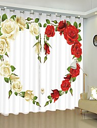 cheap -Red And White Rose Love Digital Printing 3D Curtain Shading Curtain High Precision Black Silk Fabric High Quality Curtain
