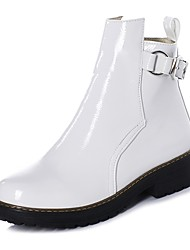 cheap -Women's Boots Chunky Heel Round Toe Booties Ankle Boots Casual Minimalism Daily Office & Career Patent Leather Solid Colored Winter White Black Blue / Booties / Ankle Boots / Booties / Ankle Boots