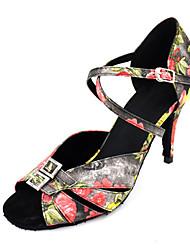 cheap -Women's Dance Shoes Satin Latin Shoes Rhinestone Heel Slim High Heel Black