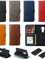 cheap -Case For Motorola MOTO G6 / Moto G6 Plus / Moto G7 Play Wallet / Card Holder / with Stand Full Body Cases Solid Colored / Cat PU Leather