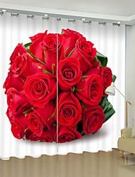 cheap -Red Rose Ball Digital Printing 3D Curtain Shading Curtain High Precision Black Silk Fabric High Quality Curtain
