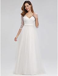 cheap -A-Line Elegant Formal Evening Dress V Neck 3/4 Length Sleeve Floor Length Lace with 2021