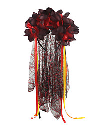 cheap -Witch Women's Halloween Halloween Festival / Holiday Fabric Red+Black / Rainbow Women's Carnival Costumes Flower / Headwear / Hair Band