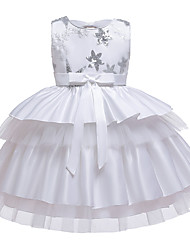 cheap -A-Line Knee Length Wedding / Birthday / Pageant Flower Girl Dresses - Cotton Blend Sleeveless Jewel Neck with Petal / Sash / Ribbon / Trim
