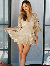 cheap -Women's Mini Gold Dress Basic Daily Wear A Line Polka Dot Deep V Mesh XS S