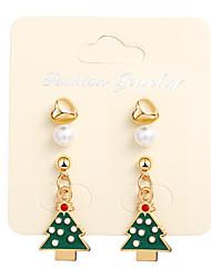 cheap -Women's Drop Earrings Classic Christmas Tree Earrings Jewelry Gold For Christmas 1 Pair