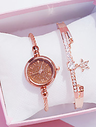 cheap -Women's Quartz Watches New Arrival Elegant Black Rose Gold Stainless Steel Chinese Quartz Black Rose Gold Brown Chronograph Cute Casual Watch 2pcs Analog One Year Battery Life