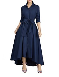 cheap -Women's Maxi Swing Dress - Long Sleeve Solid Colored Shirt Collar Wine White Navy Blue S M L XL
