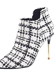cheap -Women's Boots Print Shoes Stiletto Heel Pointed Toe Suede Mid-Calf Boots Fall & Winter Black / White / Red