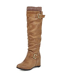 cheap -Women's Boots Knee High Boots Hidden Heel Round Toe PU Knee High Boots Casual / Minimalism Winter Black / Brown / Yellow