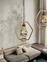 cheap -1-Light 36 cm Pendant Light Wood / Bamboo Novelty Painted Finishes Retro 110-120V / 220-240V