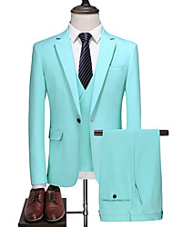 cheap -Sky Blue Solid Colored Slim Fit Polyester Suit - Notch Single Breasted One-button